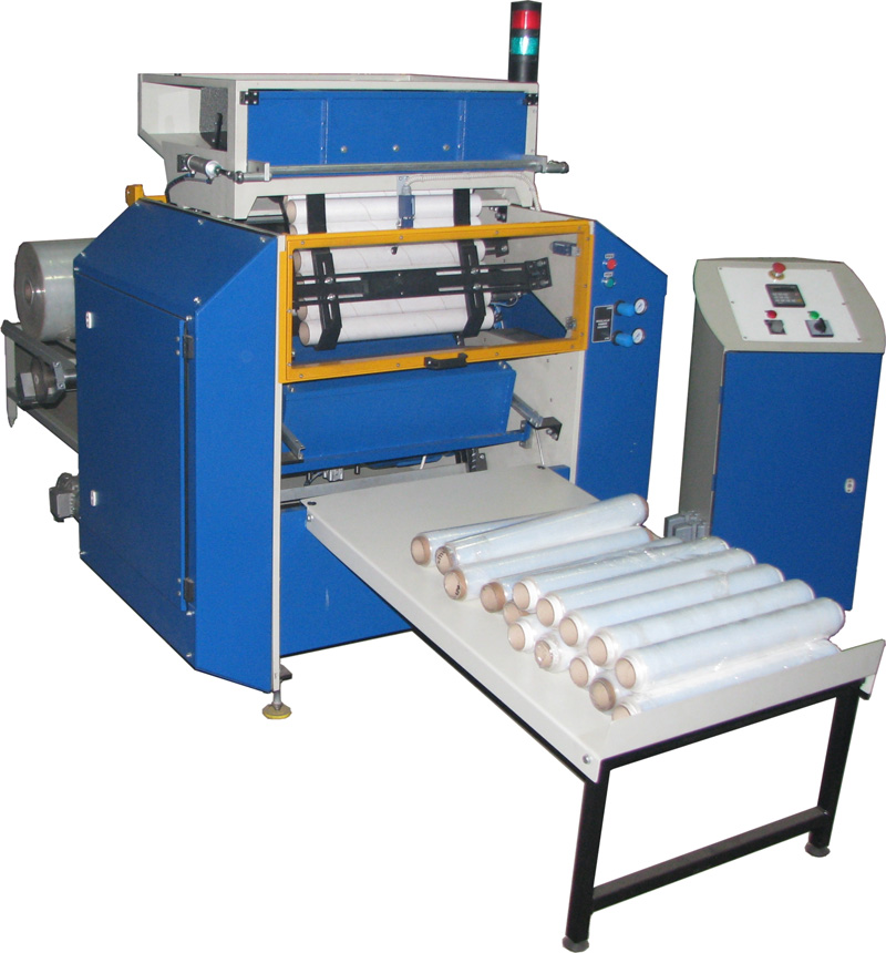 Automatic rewinders for stretch film